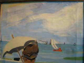 Lady & PARASOL SeaSide OLD Claude Monet IMPRESSIONIST Painting
