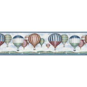 The Wallpaper Company 8.25 In.H X 12 In.L Blue Hot Air Balloon Border