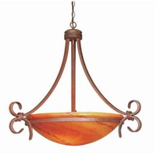 Hampton Bay Rhodes 3 Light Hanging Steel Nutmeg Bowl Pendant 27011 at