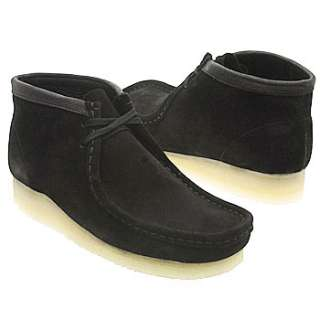 Mens Clarks Wallabee Boot Black Suede Shoes
