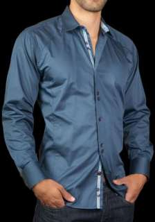 Mens Shirt STONE ROSE JFK Blue Red Rivet Collection Button up Woven