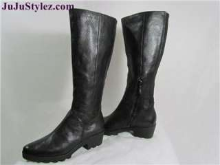 Authentic Womens Black Leather Stretch Knee High Boots size 7M