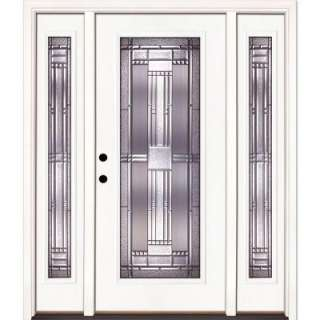 Right Hand Inswing Full Lite Fiberglass Door with 12 in. Sidelites
