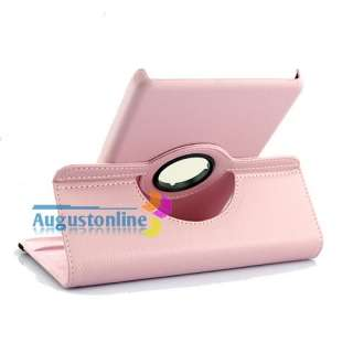Pink 360 Rotating Leather Case Cover w/Stand for  Kindle Fire 7