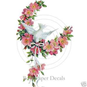 Vintage Shabby Lovely Dove with Wild Pink Roses Decals