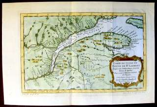 1757 Bellin Antique Map Mouth St Lawrence River, Canada