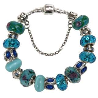 silver lampwork gold crystal European bracelet beads charms Jewelry