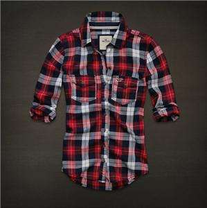 NWT Hollister by Abercrombie Women Jack Creek Red Plaid Classic Button