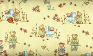 BEARY BOYS/GIRLS YELLOW FLANNEL QUILT FABRIC