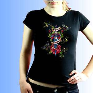 Rockabilly Tattoo Top Biker Damen Shirt *97144 bl