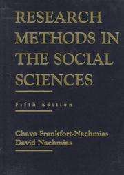 Research Methods in the Social Sciences by David Nachmias and Chava