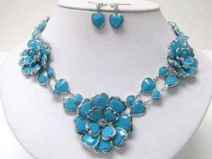 Statement Flower Necklace Earring/White/Multi/Turquoise