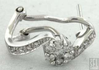 18K WHITE GOLD 0.60CT DIAMOND FLOWER CLUSTER EARRINGS