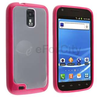 Clear Blue+Pink Trim TPU Case+2 LCD Cover For Samsung Galaxy S2 T989 T