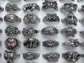 New style wholesale lots 20pcs skull carved biker men silver tone