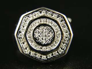 10K MENS WHITE GOLD ROUND CUT PAVE DIAMOND PINKY RING