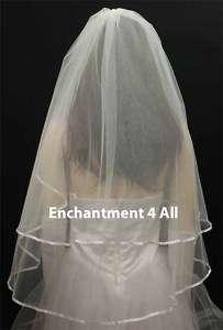 2T DIAMOND WHITE Wedding Bridal Veil Ribbon Fingertip 2
