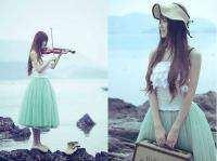 Princess Style Dress Super Cute Green Chiffon Puff Tulle Skirt