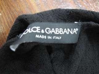 Dolce & Gabbana Black Crochet Sheer Scoop Neck Cap Sleeve Top 40