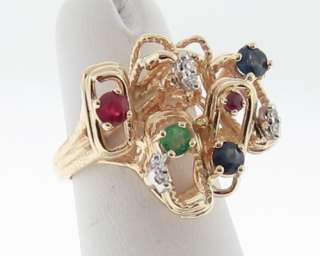 Natural Ruby Diamond Sapphire Emerald 14k Gold Ring