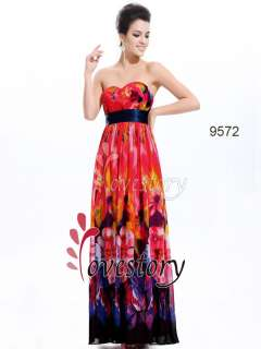 Floral Print Chiffon Strapless Prom Gown 09572 US Size 16 610585149478
