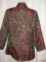 BFS03~COLDWATER CREEK Three Button Front Floral Jacquard Blazer Jacket