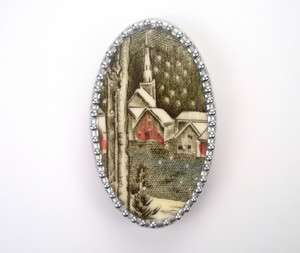 VINTAGE VILLAGE CHURCH COVERED IN SNOW WINTER PIN BROOCH BROKEN CHINA