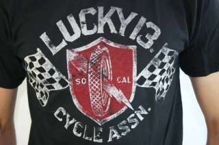 LUCKY 13 Cycle Association Rockabilly Tattoo T Shirt