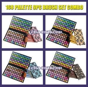 Full 168 Mix and Match Rainbow Eyeshadow Palette 9pc brush set kit