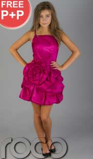 TEEN FLOWER GIRL CERISE PINK PROM PUFFBALL PARTY DRESS SIZE AGE 6   14