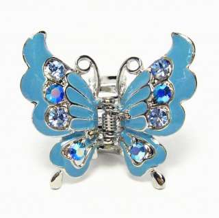 BUTTERFLY BLUE ENAMEL AUSTRIAN CRYSTAL HAIR CLAW CLAMP