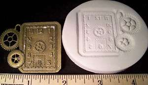 Steampunk Square Clock Face Gears Clay Push Mold Watch
