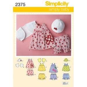 Simplicity Schnittmuster 7485 A Baby Kleid,Top,Höschen,Bolero,Hut Gr