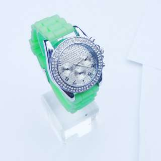 Silicone Crystal with Diamond Quartz Men Ladies Women Jelly Wrist