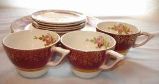 VINTAGE SALEM CHINA ARISTOCRAT MAROON 11 PC SET 3 DINNER PLATES 3 CUPS