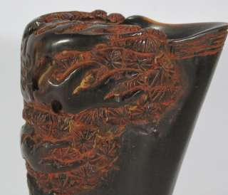 Excellent Chinese Ox horn Carved tree cup