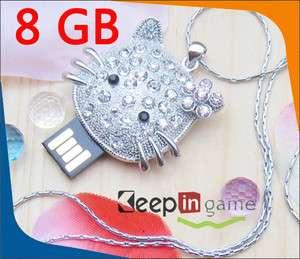 8GB Crystal Hello Kitty USB Flash Memory Stick Drive 8G