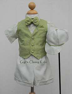 NEW TODDLER BOYS LIGHT SAGE GREEN EASTER SHORTS SET OUTFIT SUIT
