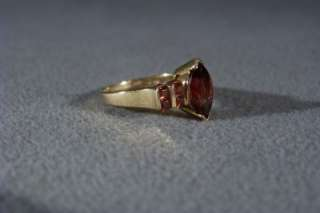 10 K YELLOW GOLD MULTI ROUND MARQUISE GARNET FANCY BOLD RING 8