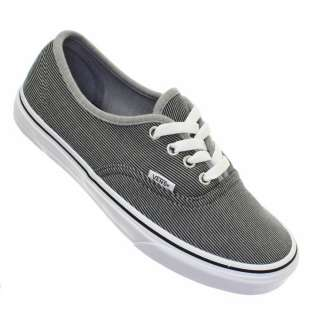 WOMENS VANS AUTHENTIC MICRO STRIPE BLACK WHITE LACE UP LADIES TRAINERS