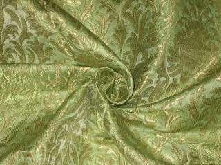 Pretty Silk Brocade Fabric Light Green & Gold color 44