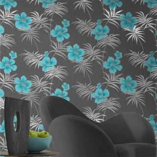 Crown Freya Exotica Teal Black Wallpaper Floral M0630