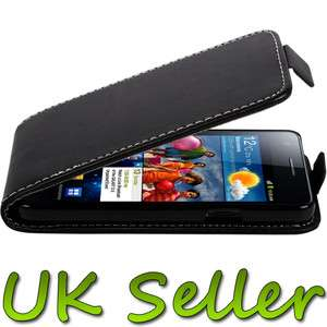 BLACK LEATHER FLIP CASE COVER SAMSUNG GALAXY S2 PHONE