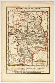 CARTE ANCIENNE XIXème Departement CHER 1823 Dos vierge