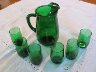 Anchor Hocking Emerald Green Juice Pitcher & 6 Glasses!