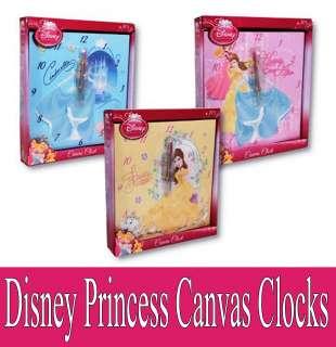 DISNEY PRINCESS CANVAS ART WALL CLOCK GIRLS BRAND NEW