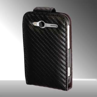 FOR HTC WILDFIRE S CARBON FIBRE LEATHER FLIP CASE COVER