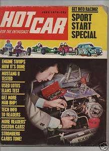 HOT CAR magazine 6/74 feat. Mustang II, Elan, 911S 2.7