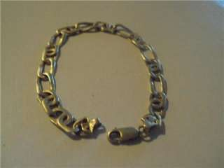 Mens 14K Yellow Gold Figaro Bracelet 14.9 Grams