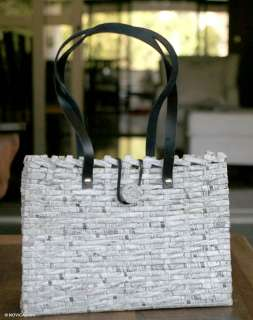 UNIQUE Woven Recycled Newspaper HANDBAG Brazil Orig Art: Purses